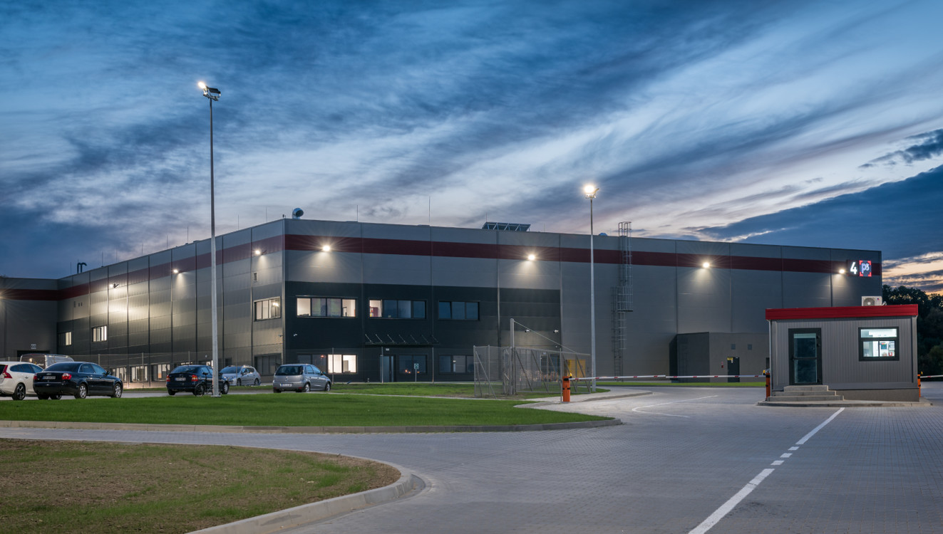 Warehouse at night
